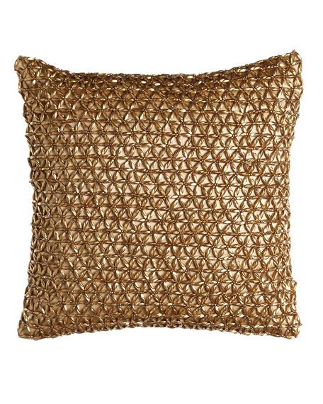 """Glimmer Star"" 12"" Sq. Pillow, Gold Leaf"