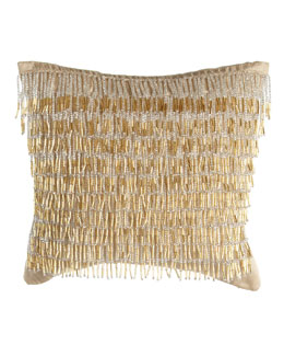 "Donna Karan Home ""Dancing Gold"" 9""Sq. Pillow, Gold Leaf"
