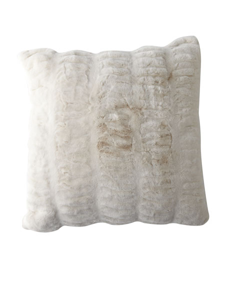 Fabulous Furs Ivory Mink Faux Fur Accent Pillow