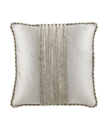 "Dian Austin Couture Home Pure Pewter European Sham with ""Eyelash"" Center, Silk Sides, & Cording"