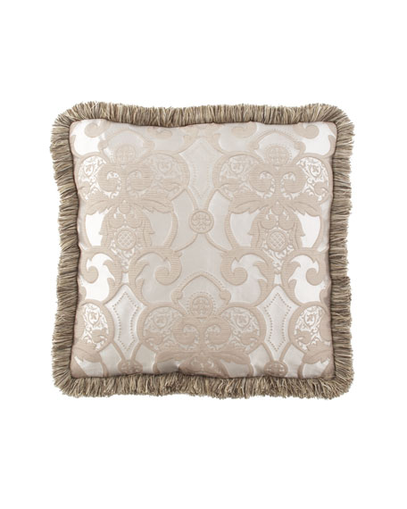 Dian Austin Couture Home Pure Pewter European Medallion Box Sham with Brush Fringe