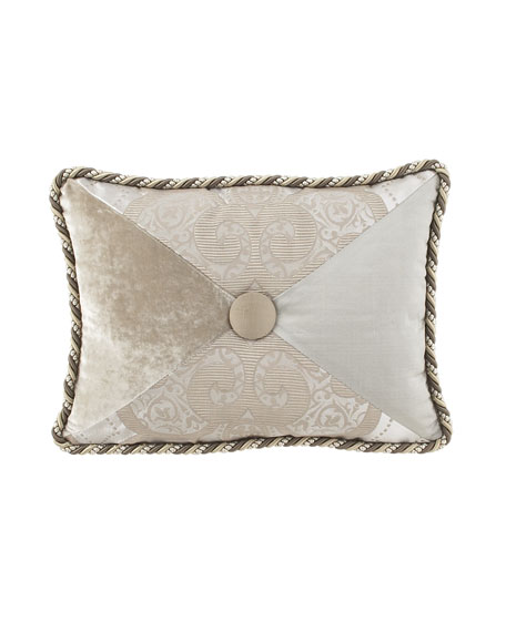 "Dian Austin Couture Home Pure Pewter Pieced Pillow with Button Center, 12"" x 16"""