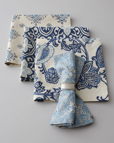 French Laundry Home Four Block-Print Napkins