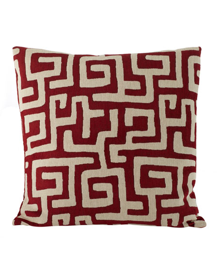 """Lucy"" Red Maze Pillow, 22""Sq."