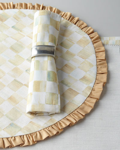 Parchment Check Round Ruffled Placemat