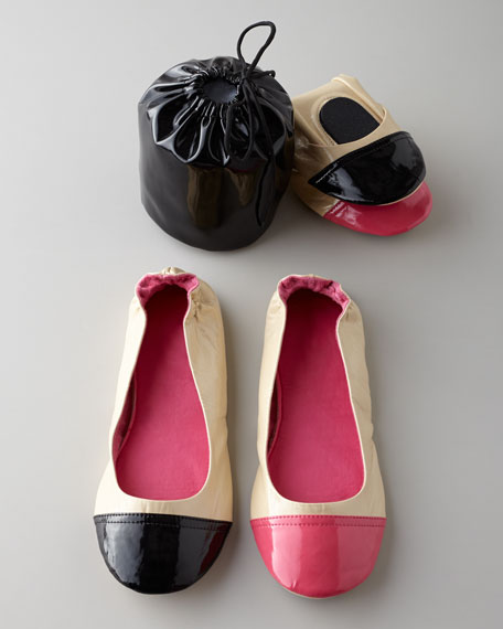 Luxe Patent Contrast Toe Foldable Travel Flats