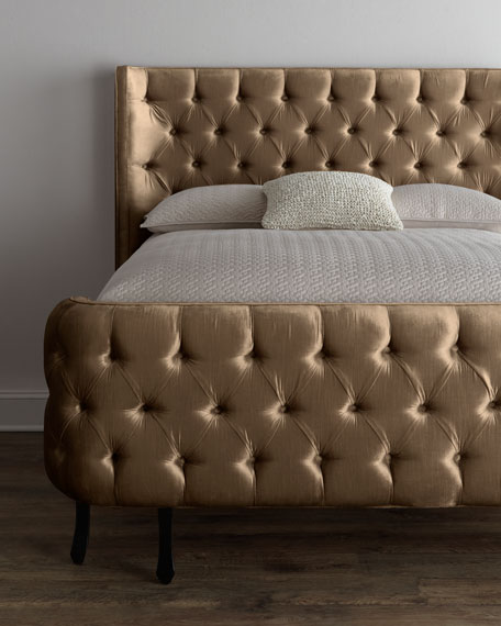 "Taupe Velvet ""Larkspur"" King Bed"