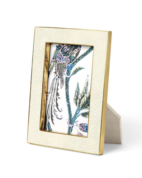 "Cream Shagreen 5"" x 7"" Picture Frame"