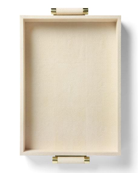 AERIN Cream Shagreen Rectangular Tray
