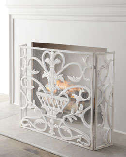 """White Urn"" Fireplace Screen"