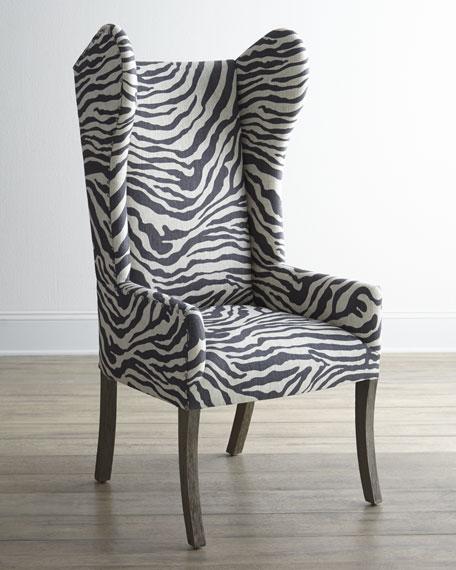 Kayla Zebra-Print Wingback Chair