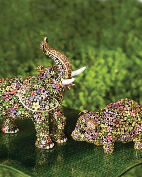 Boxwood Elephant Figurine