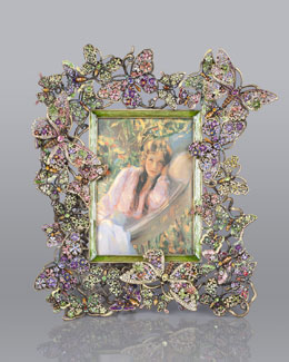 "Jay Strongwater Floral Butterfly 5"" x 7"" Frame"