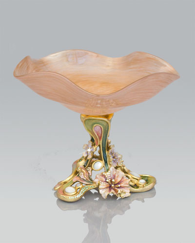 "Jay Strongwater ""Josee"" Floral Pedestal Dish"