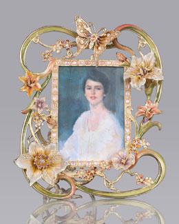 "Jay Strongwater ""Madeleine"" Floral/Cabochon 5"" x 7"" Frame"