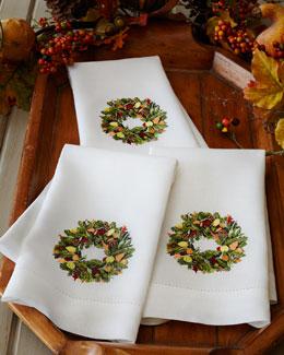Three Wreath Guest Towels