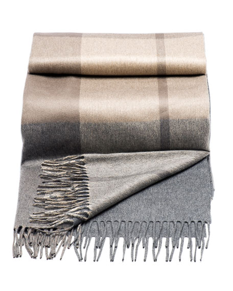 Plaid-Print Cashmere Throw