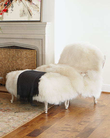 Old Hickory Tannery Worthen Sheepskin Bergere Chair
