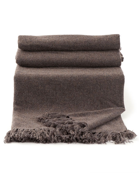 Cashmere Blanket with Fringe Detail