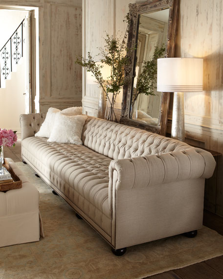 """Old Hickory Tannery Hudson Tufted-Linen Sofa, 93""""L"""