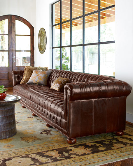 "Old Hickory Tannery Executive 76""L Chesterfield Sofa"