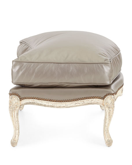 Old Hickory Tannery Silver Leather Bergere Ottoman