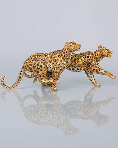 Jay Strongwater Running Leopards Figurine