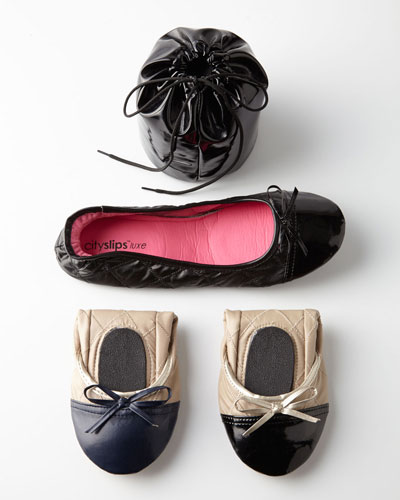 CitySlips Quilted Cap-Toe Travel Flats