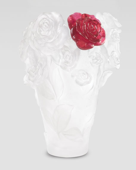 Daum White Rose Passion Vase