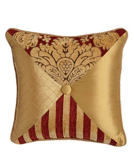 Austin Horn Collection Bellissimo Square Pieced Pillow with Button & Cording