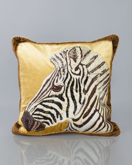 "Zebra Pillow, 18""Sq."