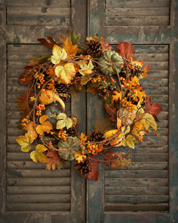 """Park Hill Collections Bountiful Harvest 34"""" Wreath"""