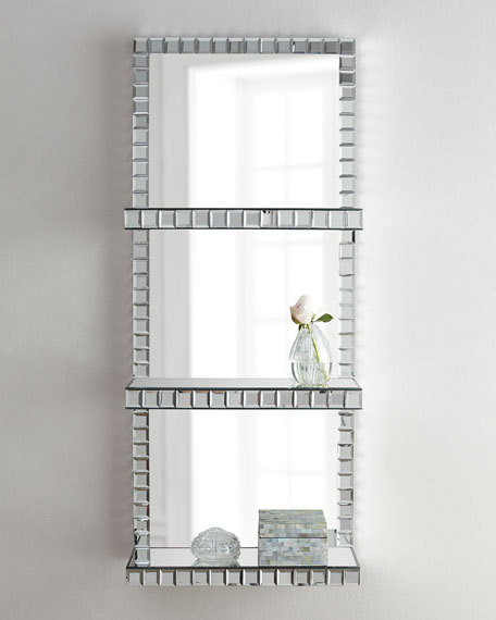 Neimanmarcus Mosaic-Border Mirrored Shelf Wall Panel
