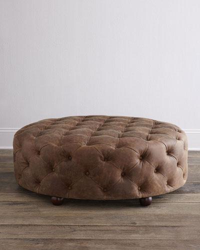 Maddie Leather Ottoman