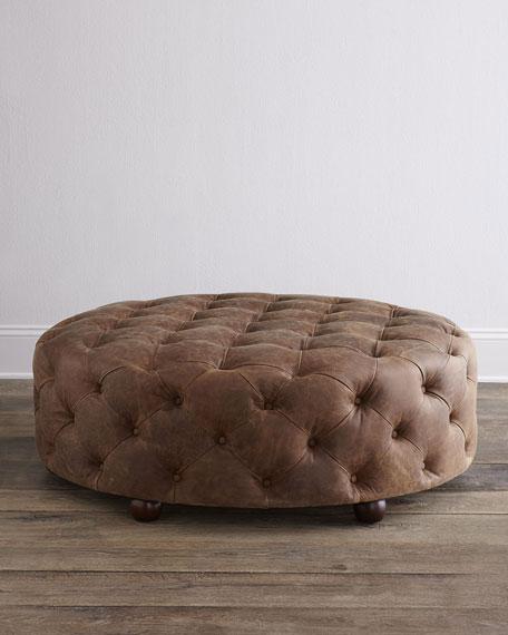 Maddie Round Leather Ottoman