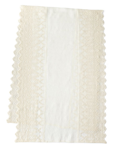 "Annabelle Lace-Edged Bed Scarf, 30"" x 90"""