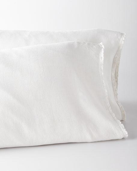 Two King Charlie Ruffled White Linen Pillowcases