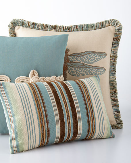 Elaine Smith Chocolate/Aqua Multi-Stripes Pillow
