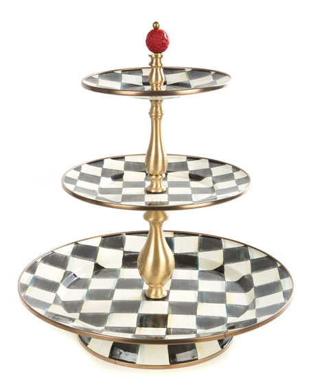 MacKenzie-Childs Courtly Check Three-Tier Sweet Stand | Neiman Marcus