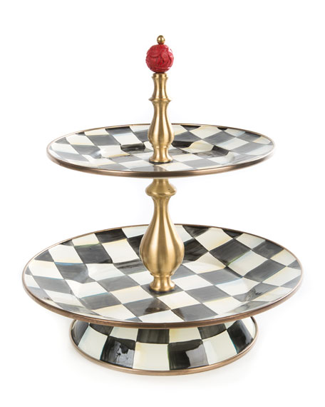 MacKenzie-Childs Courtly Check Two-Tier Sweet Stand