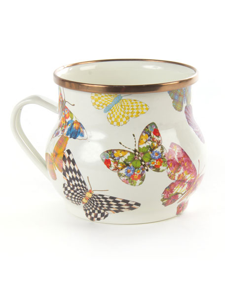 MacKenzie-Childs White Butterfly Garden Mug