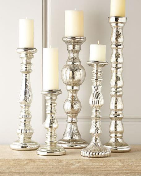Five Mercury-Glass Candleholders