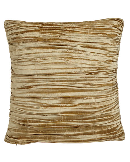 """Austin Horn Collection Antoinette Pleated Silk Pillow with Feather/Down Insert, 18""""Sq."""