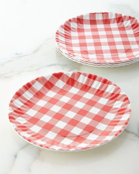 Four Gingham Melamine Plates