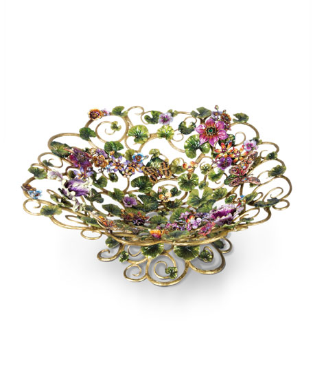 Jay Strongwater Claudette Floral Butterfly Bowl