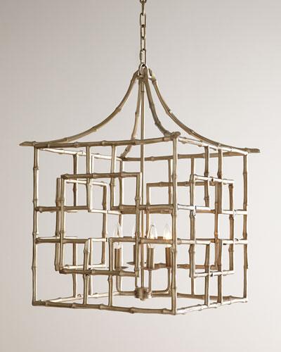 Bamboo Fretwork Four-Light Chandelier