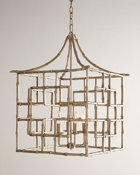 Bamboo Fretwork 4-Light Chandelier