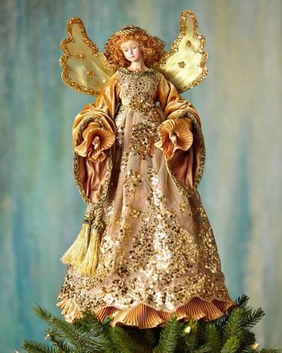 Golden Angel Christmas Tree Topper