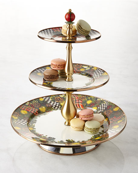 Evergreen Three-Tier Sweet Stand  sc 1 st  Neiman Marcus & MacKenzie-Childs Evergreen Three-Tier Sweet Stand | Neiman Marcus