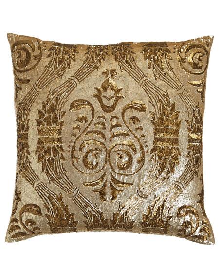"""Callisto Home Gold Sequin Pillow, 22""""Sq."""